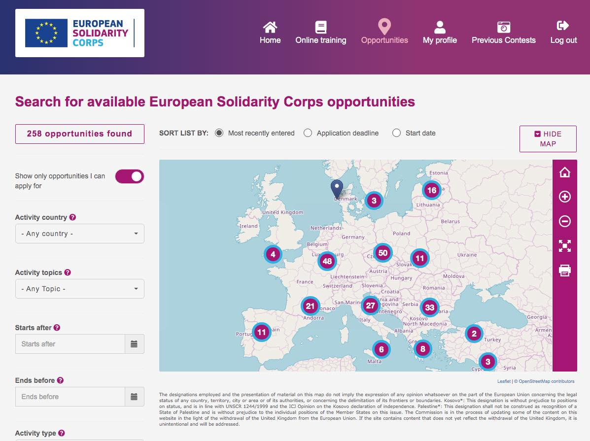 search for ESC opportunities screenshot